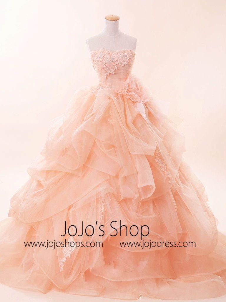 Strapless Peach Pink Quinceanera Ball Gown Dress G2021 | Quinceanera ...