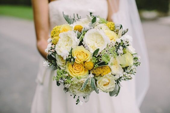 Summer Wedding – Grey Bridesmaid Dresses, Yellow Wedding Bouquets with Greenery and Grey Men's Suits