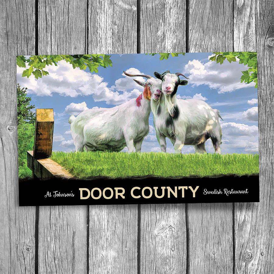 Door County Al Johnson's Goat Snuggle Postcard Door