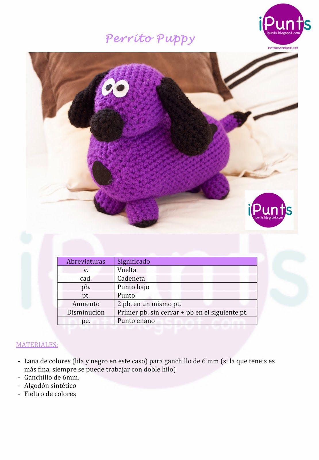 Perrito Puppy. Amigurumi de crochet. Patrón gratis de iPunts: agujas ...