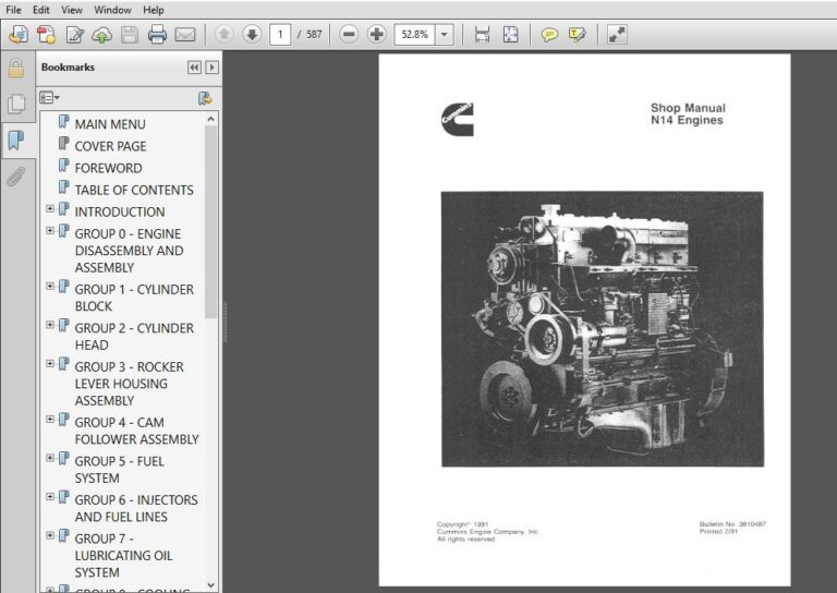 Cummins N14 Engine Service Repair Manual Pdf Download Repair Manuals Cummins Manual