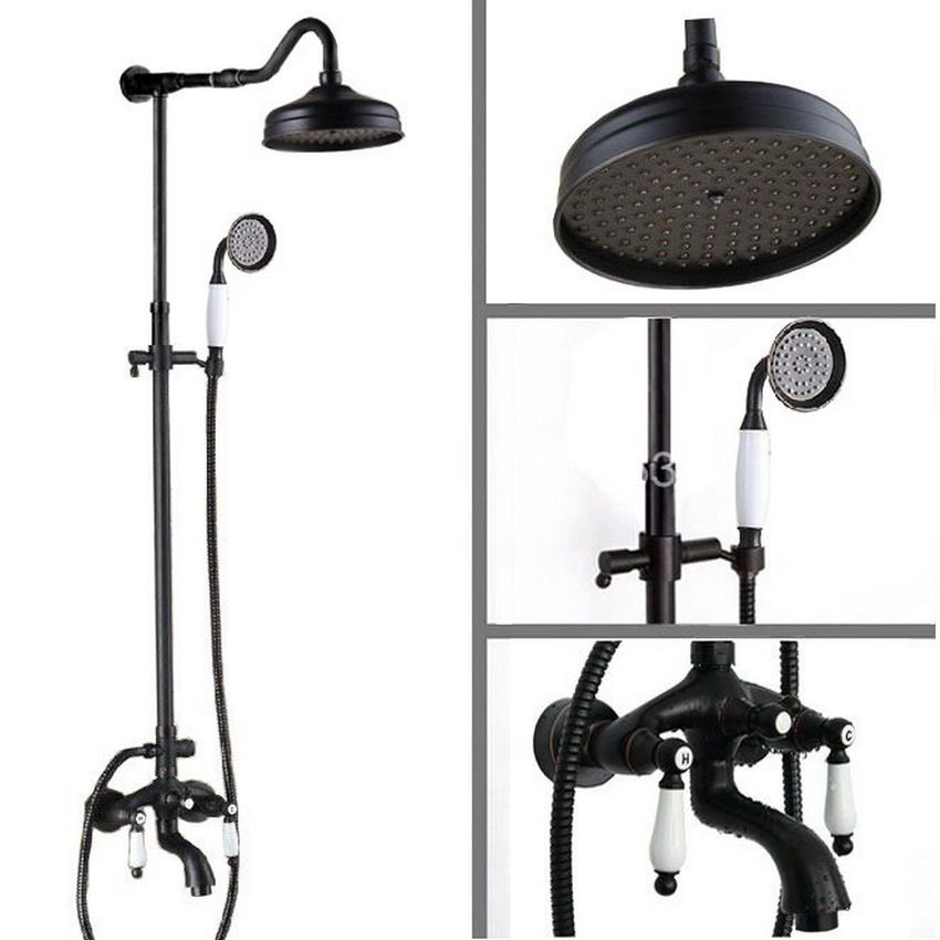 Luxury Bathroom Rain Shower Faucet Set Black Oil Rubbed Bronze ...
