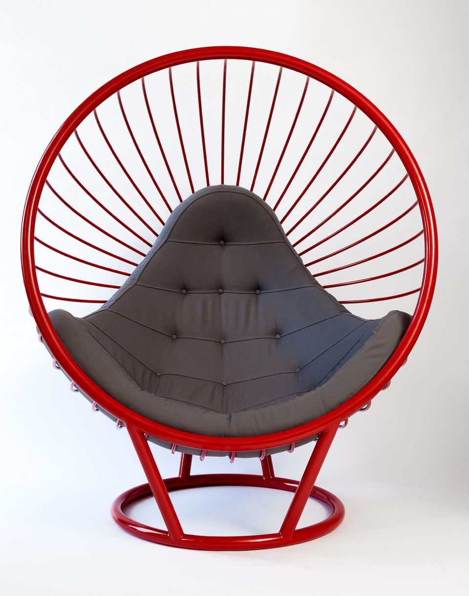 Powder coated Red steel wire bubble chair with grey cushion ...