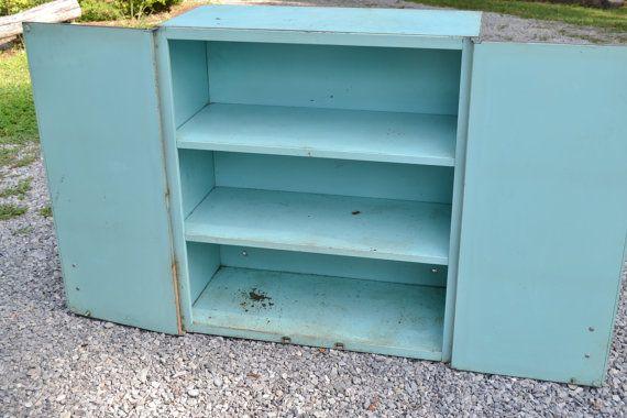 RESERVED Vintage Metal Wall Cabinet Retro Kitchen Storage 2 Doors ...