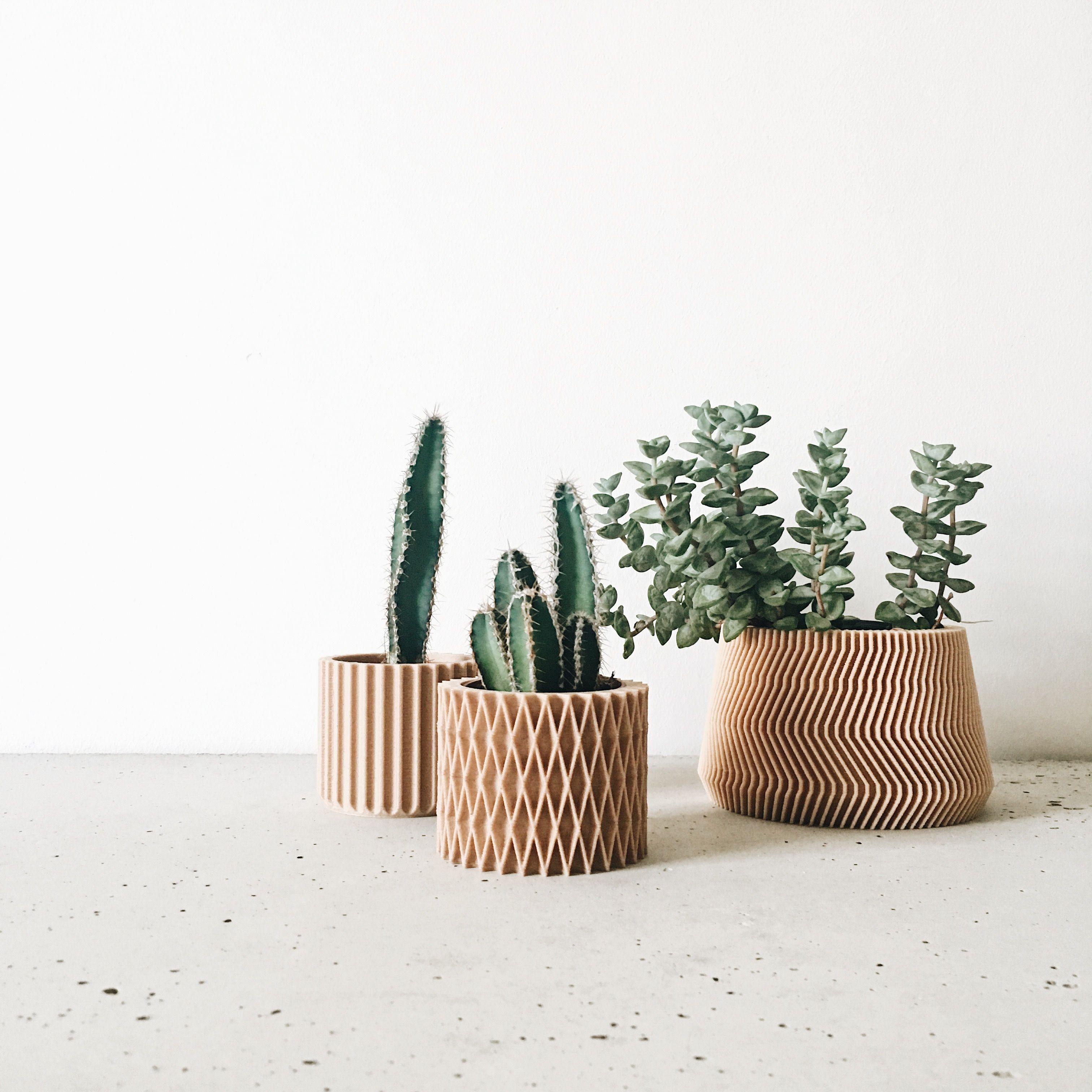 Pot Plante En Bois cache-pot imprimé en bois / design géométrique et