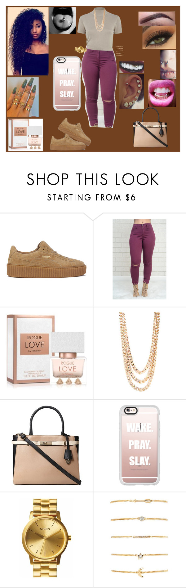 """Untitled #74"" by ayannalovebug ❤ liked on Polyvore featuring Puma, River Island, BaubleBar, Dorothy Perkins, Casetify, Nixon and Forever 21"