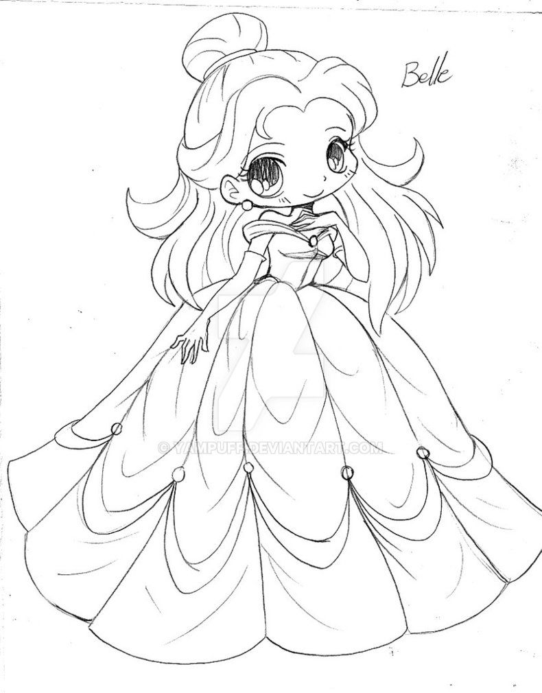 Ausmalbilder · Belle Beauty and the Beast Chibi Sketch by YamPuff
