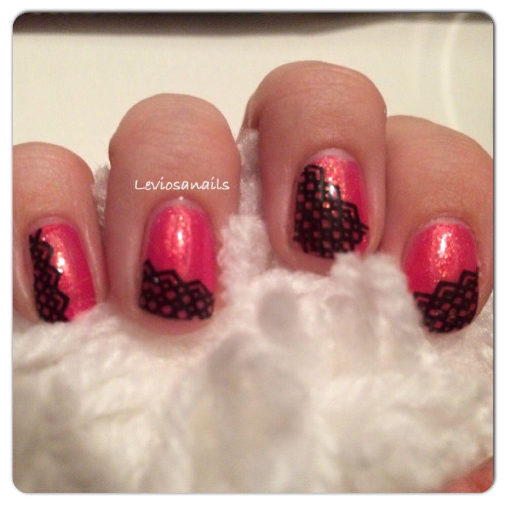 Cute lace nails made with konad love this nailart nail arts