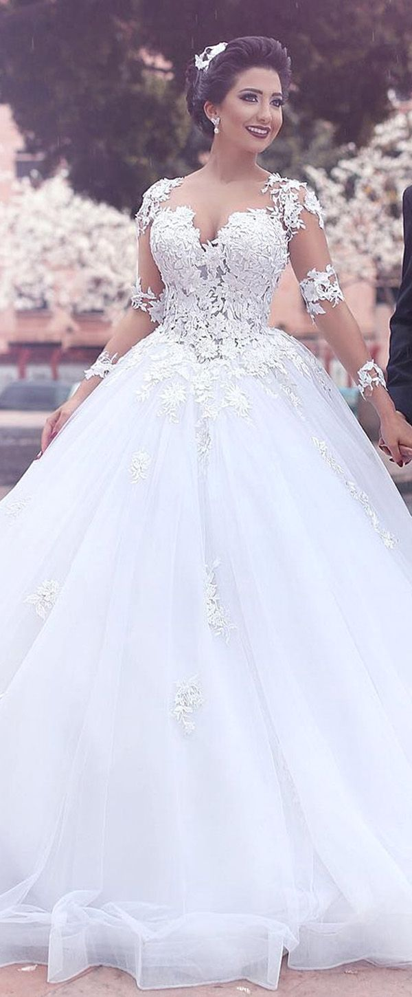 Ball gowns wedding dresses  Junoesque Tulle Bateau Neckline Ball Gown Wedding Dresses With Lace