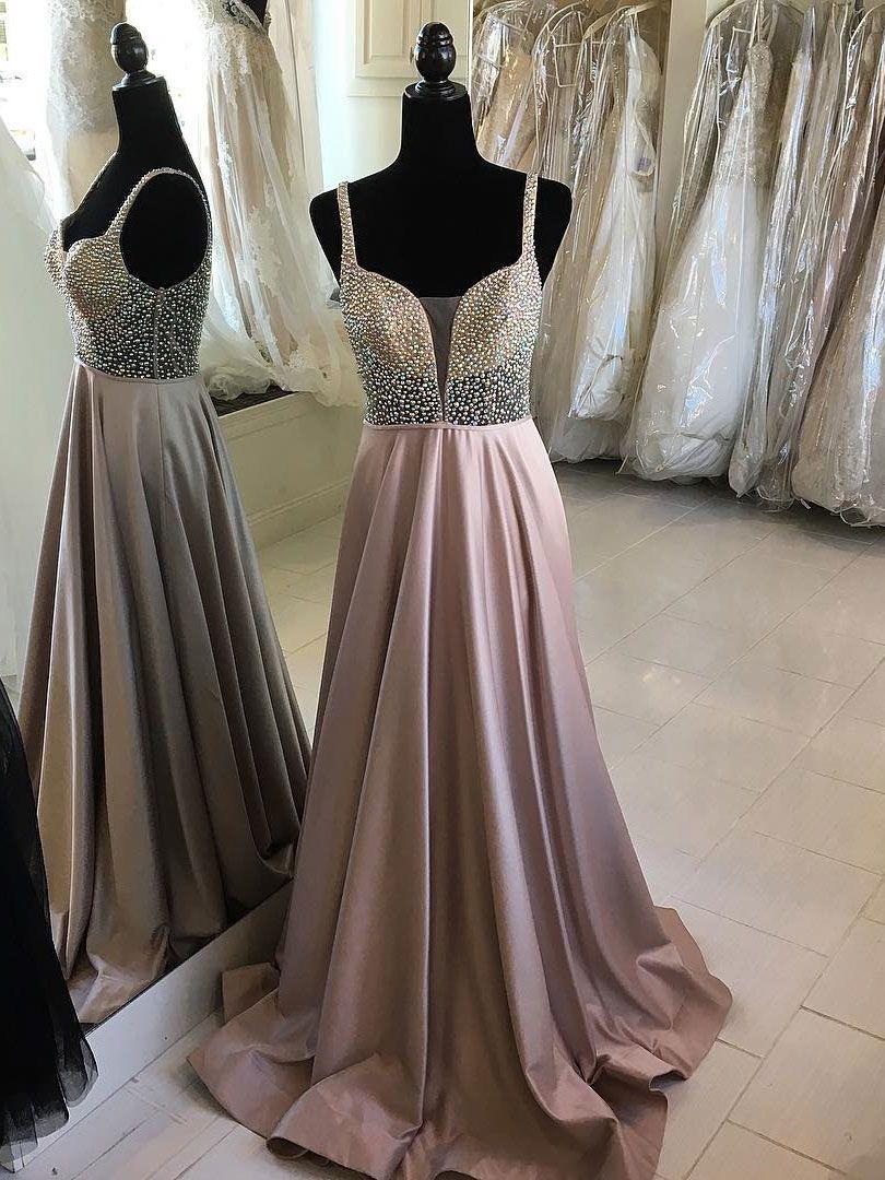 Cheap Beaded Long Prom Dresses A Line V-Neck Spaghetti Strap ...