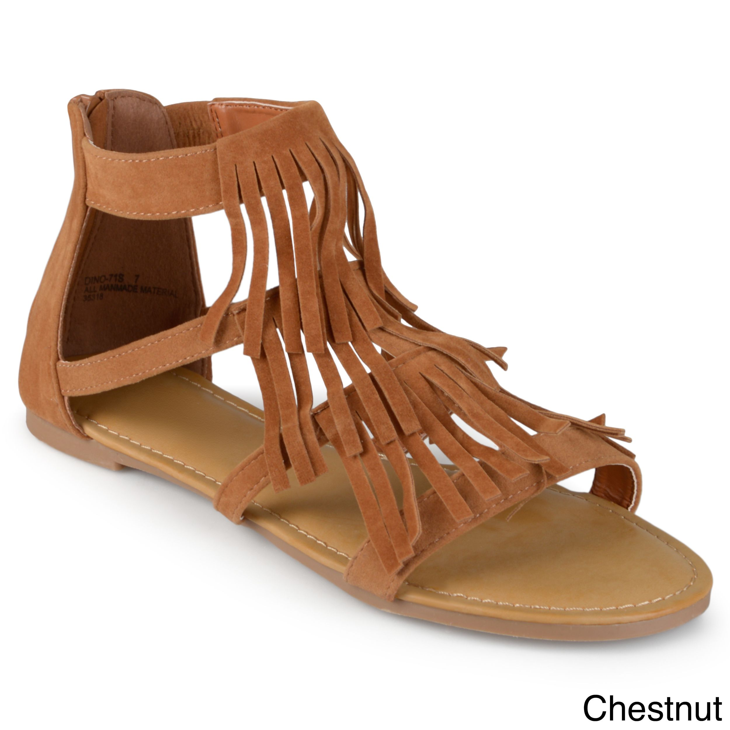 Journee Collection Women's 'Zana' Fringed Flat Gladiator Sandals