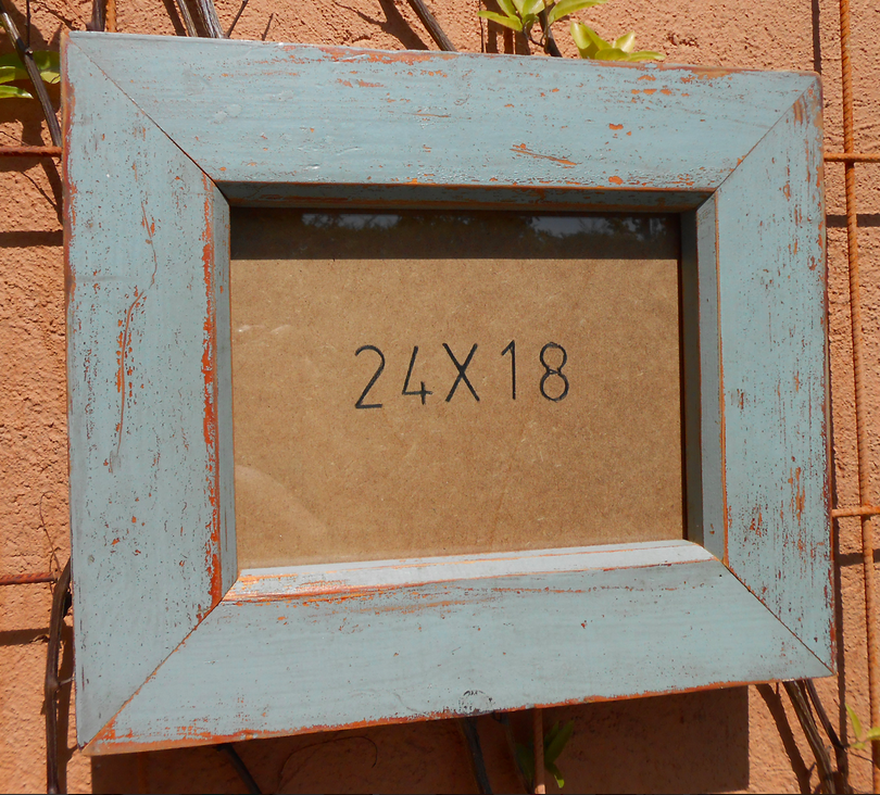 recycled wood frame 24x18 blue by jaume cardellach decoration