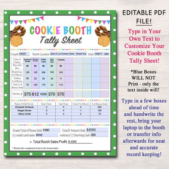 editable cookie booth tally sheet instant download troop leader