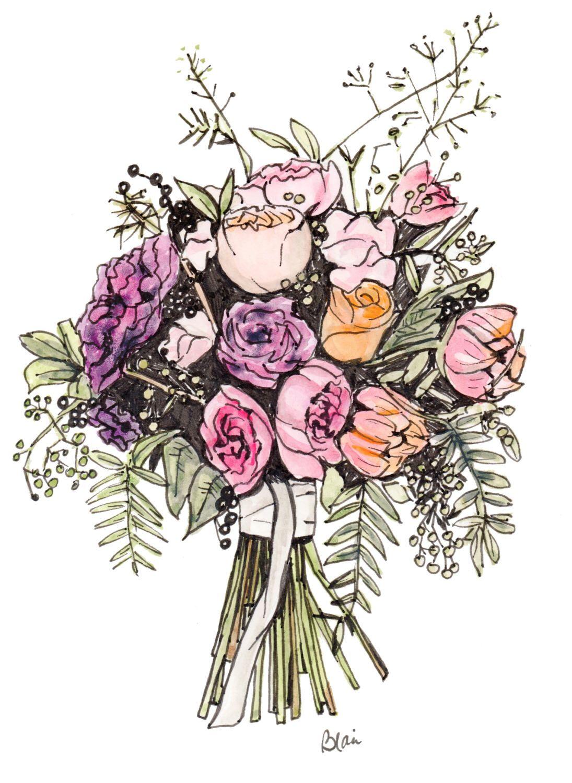 Custom wedding bouquet painting personalized wedding gift