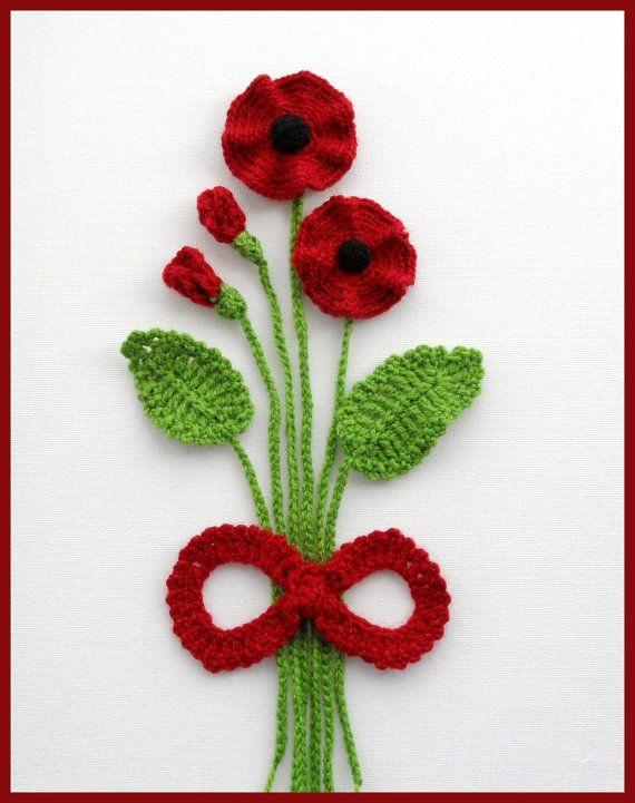 Crochet Applique Poppy Flowers and Leaves Set   by CraftsbySigita,
