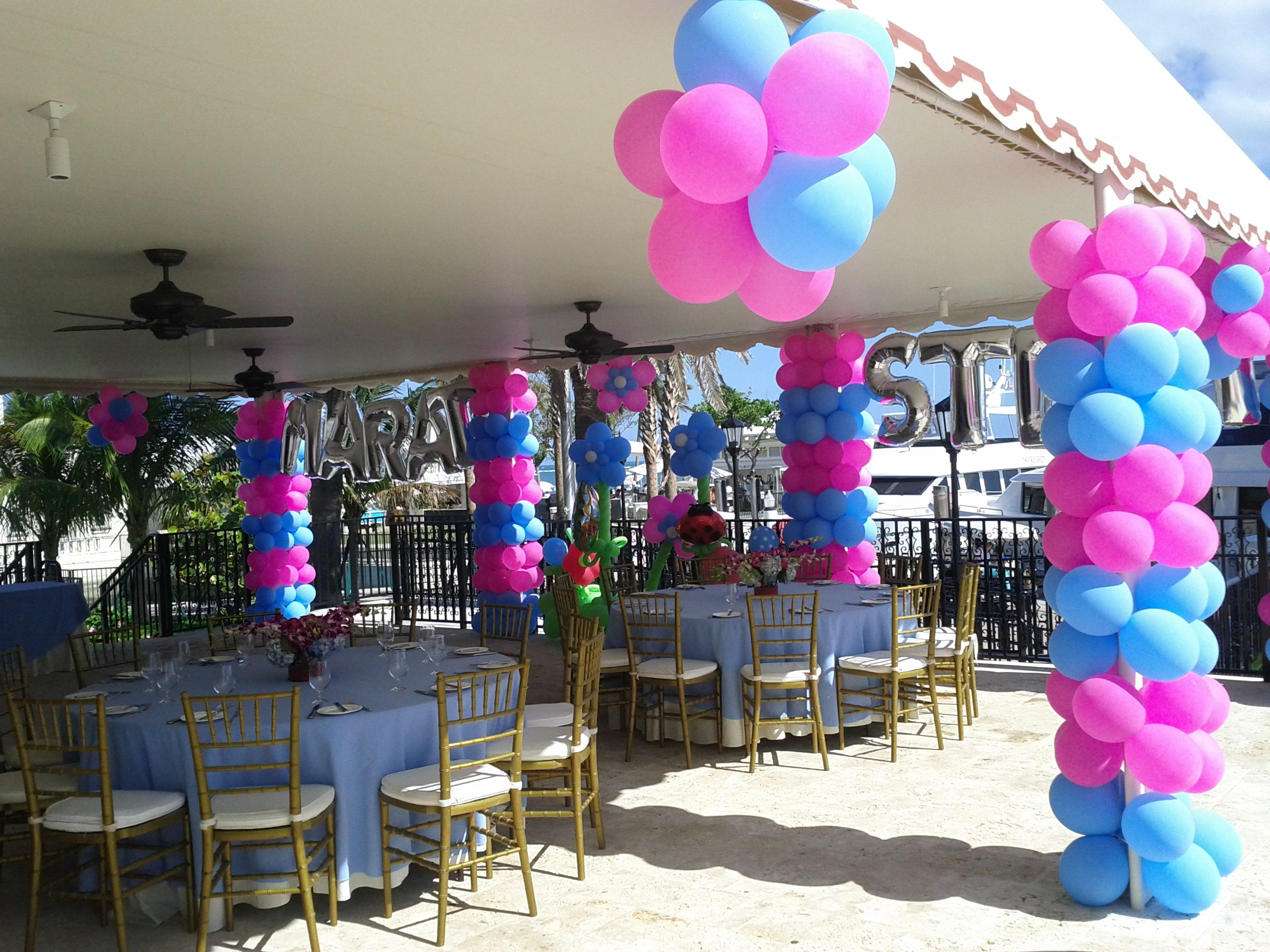 Party decorations miami baby shower balloon decorations - Balloon Column Balloon Flowers Balloon Ceiling Decor Balloon Name Www Dreamarkevents