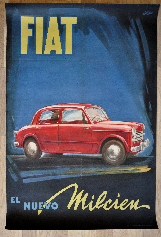 Poster Originale Auto Pubblicitaria Fiat 1100 Anni 50