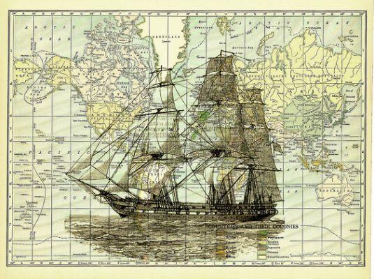Ship Nautical Vintage Print on