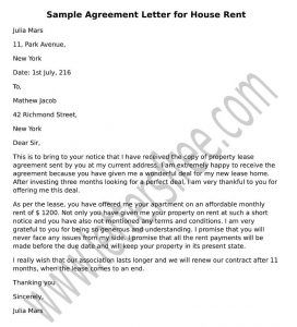 Agreement Letter For House Rent Sample Lettering Pdf