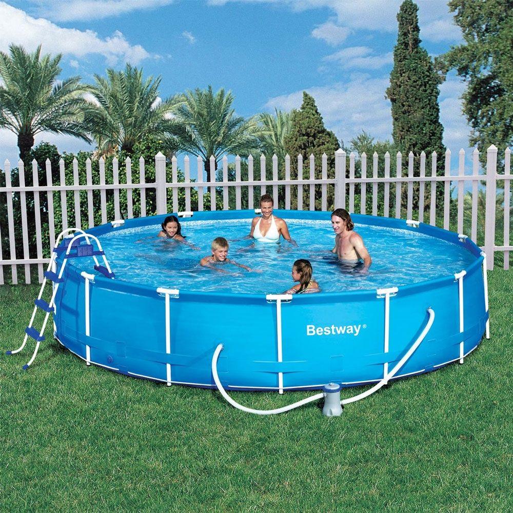 Bestway 15ft Steel Frame Pool Set with 530gal Filter Pump, Cover, 36 ...