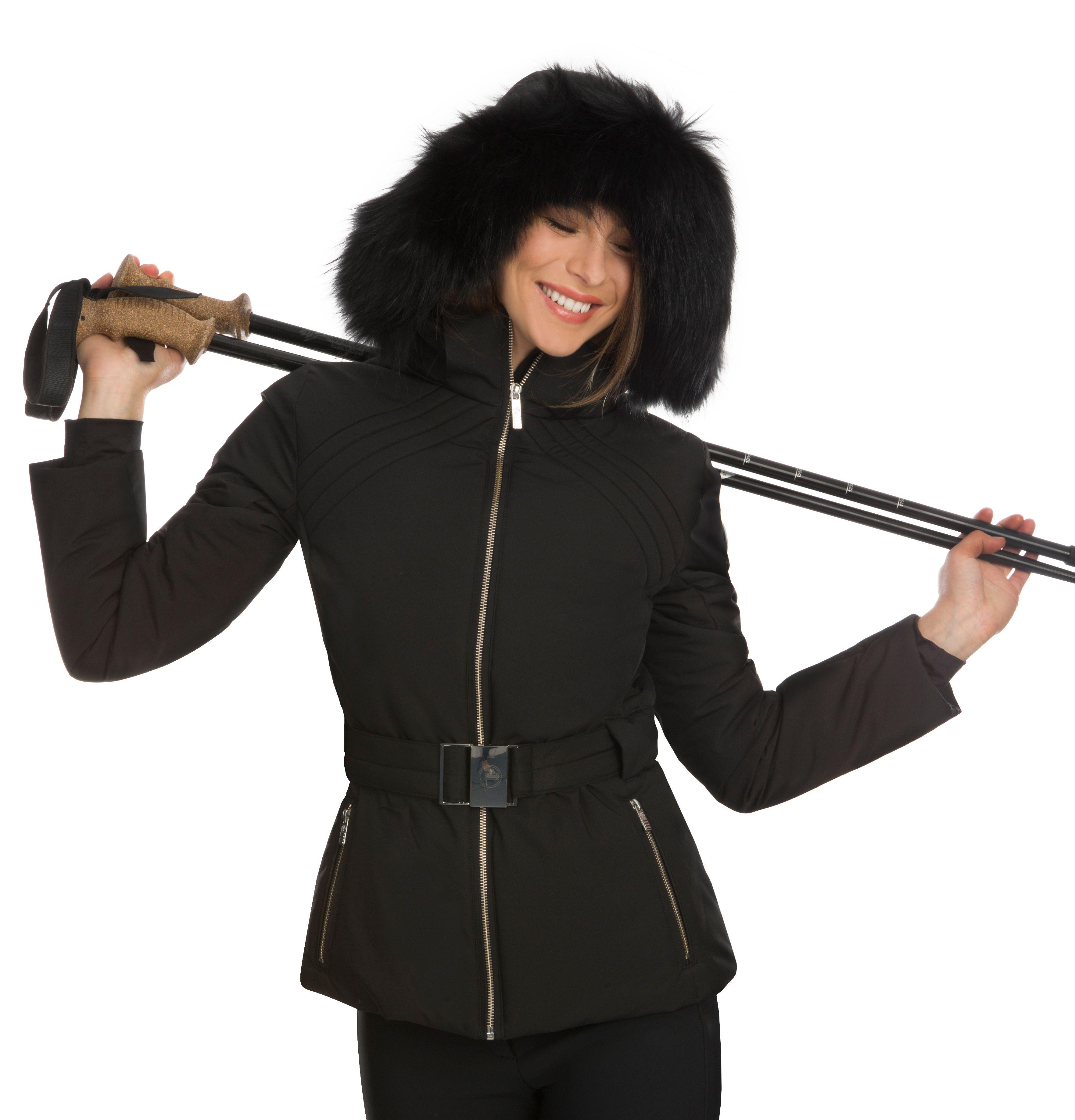 Fusalp Naja Fur ladies ski jacket with belt and fur trim  e103f1c6d