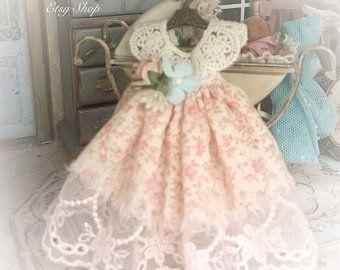 1/12 Sweet baby girl dress and hanger miniature dolls house | Etsy