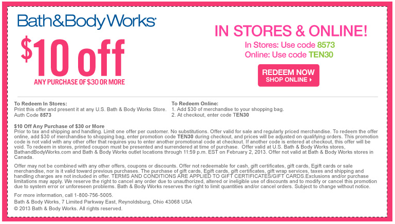 bath and body works printable coupons free shipping
