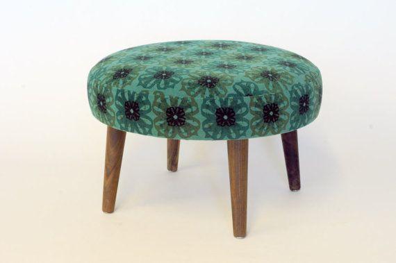 Mini Tiny Ottoman Footstool Stool Bench Furniture Silk Screening Fabric Flowers Pattern Vintage Walnut Wood Ottoman Pouf Ottoman Ottoman Footstool