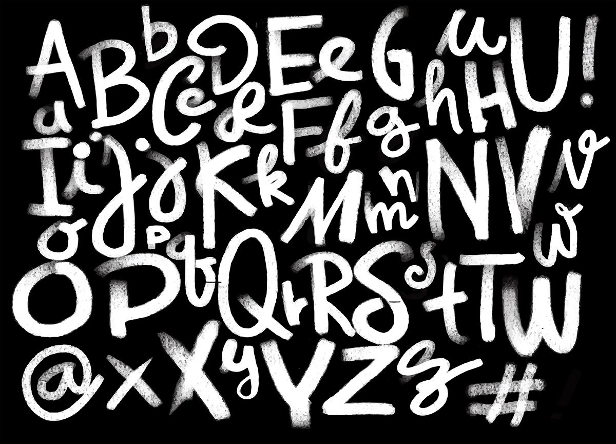 Font pencil vintage hand drawn alphabet drawing with chalk