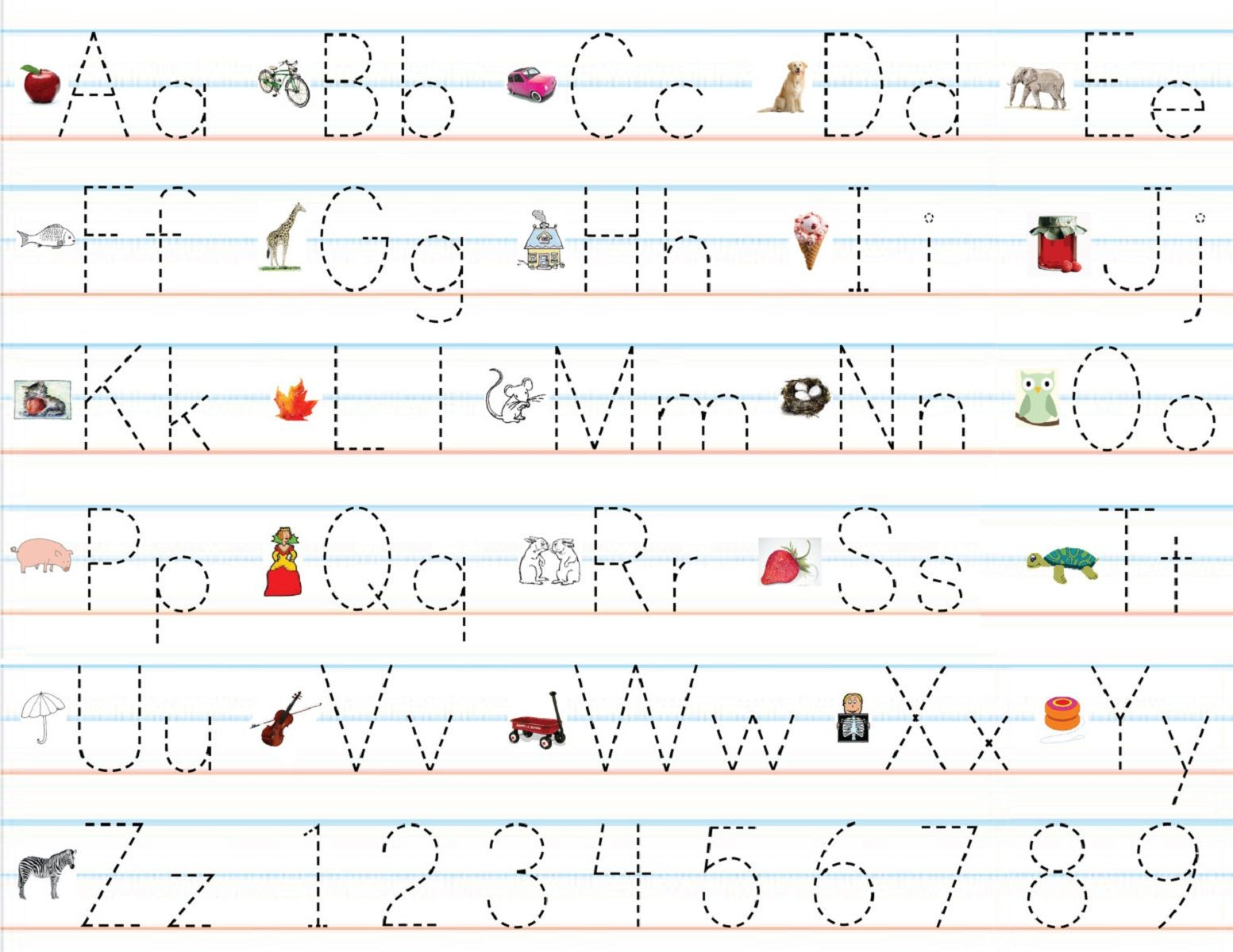 Work Sheets For Right Writing All Alphabet Letters