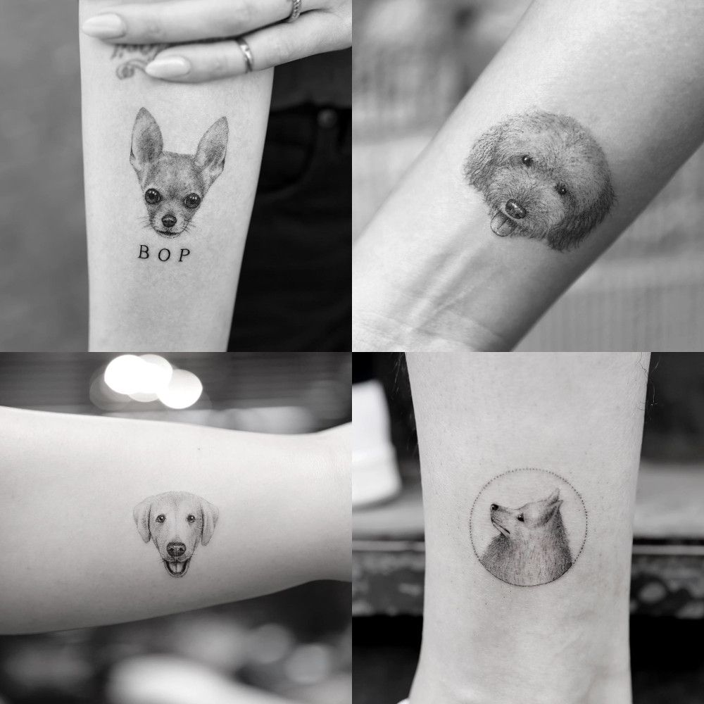 Micro Pet Portrait Tattoos By Sanghyuk Ko Dog Milk Dog Portrait Tattoo Tattoos Inspirational Tattoos