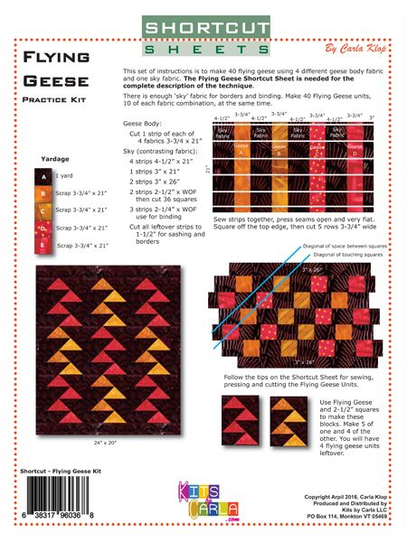 Original quilt patterns and methods packaged with or without fabric.