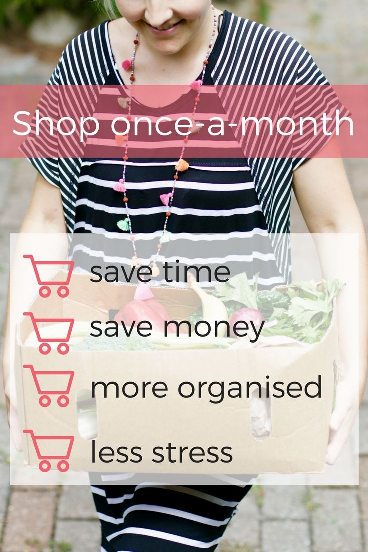Do the grocery shopping once-a-month to save time, energy, money & stress and be more organised. Doing this changed my life and I'll tell you exactly how to do it. #shopping #groceries #kitchen #dinner #budget #recipe #cooking