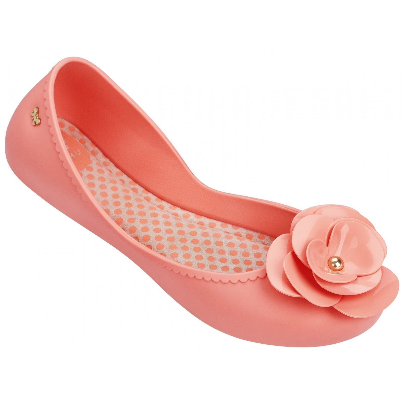 5d341688b Ladies Zaxy Start Bloom Peach Flower Flat Jelly Pumps Ballerina Shoes Uk 3  - 8