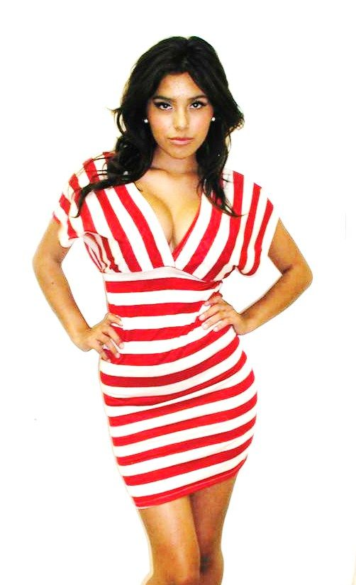 Kami Shade - Red & White Striped Deep V