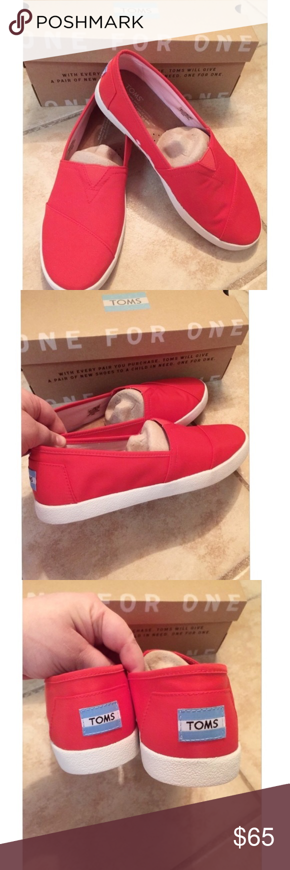   Toms   New Shoes. 🆕 New cute fiesta color TOMS shoes brand new and comes with its original box. Never worn. Size 9. In great condition. Bought them from the toms online store. Never wore them.  Fast shipping. Bundle more. Thank you. TOMS Shoes Flats & Loafers