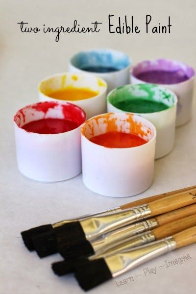 Two ingredient EDIBLE homemade paint recipe - safe for babies and toddlers and fun for all ages!
