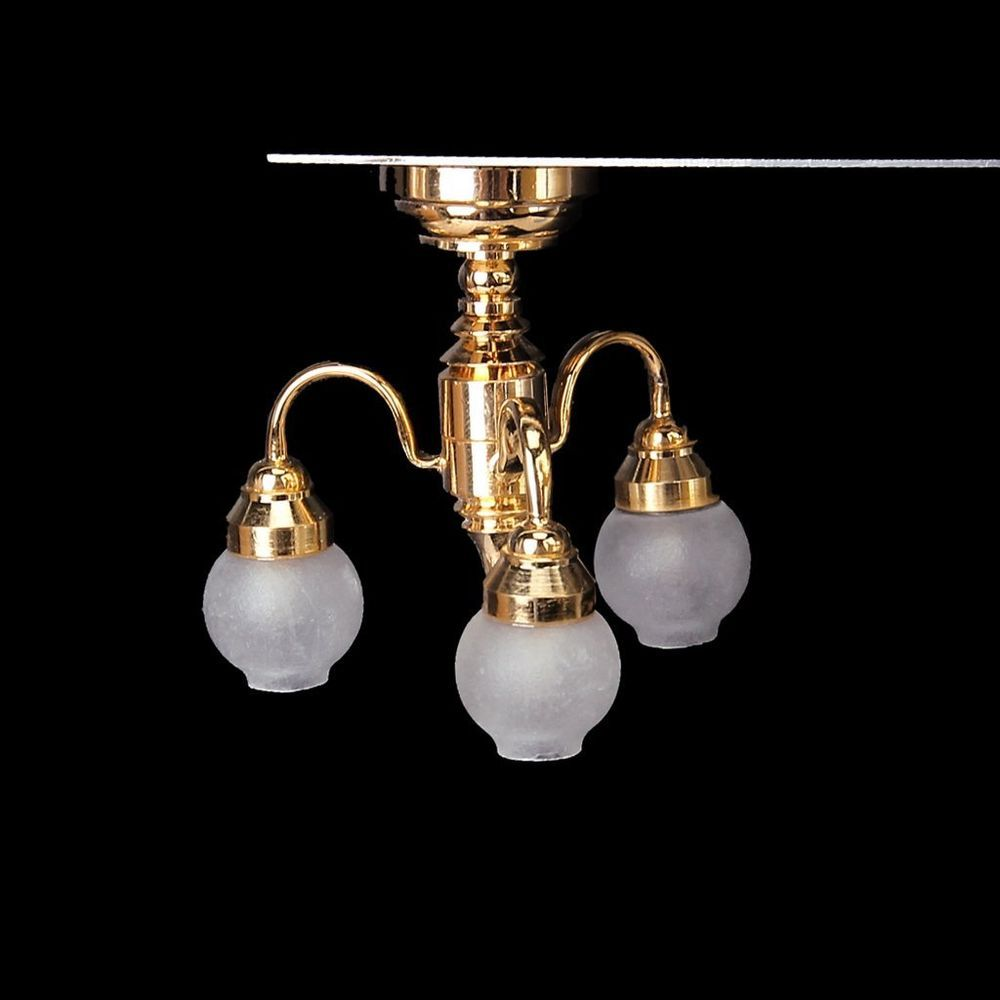 1 12 Dollhouse Brass Chandelier 3 Arm Lamp Led Ceiling Lamp Glass Shade I6c7 Unbranded Led Ceiling Lamp Brass Chandelier Glass Lamp