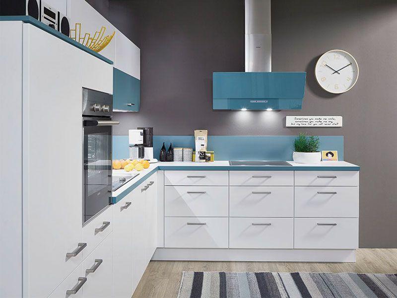 Küche weiß und babyblau Möbel Mit www.moebelmit.de