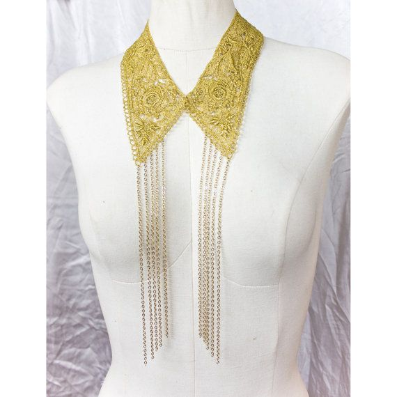 Alice Disco Collar vintage lace and chain necklace by thisilk, $86.00