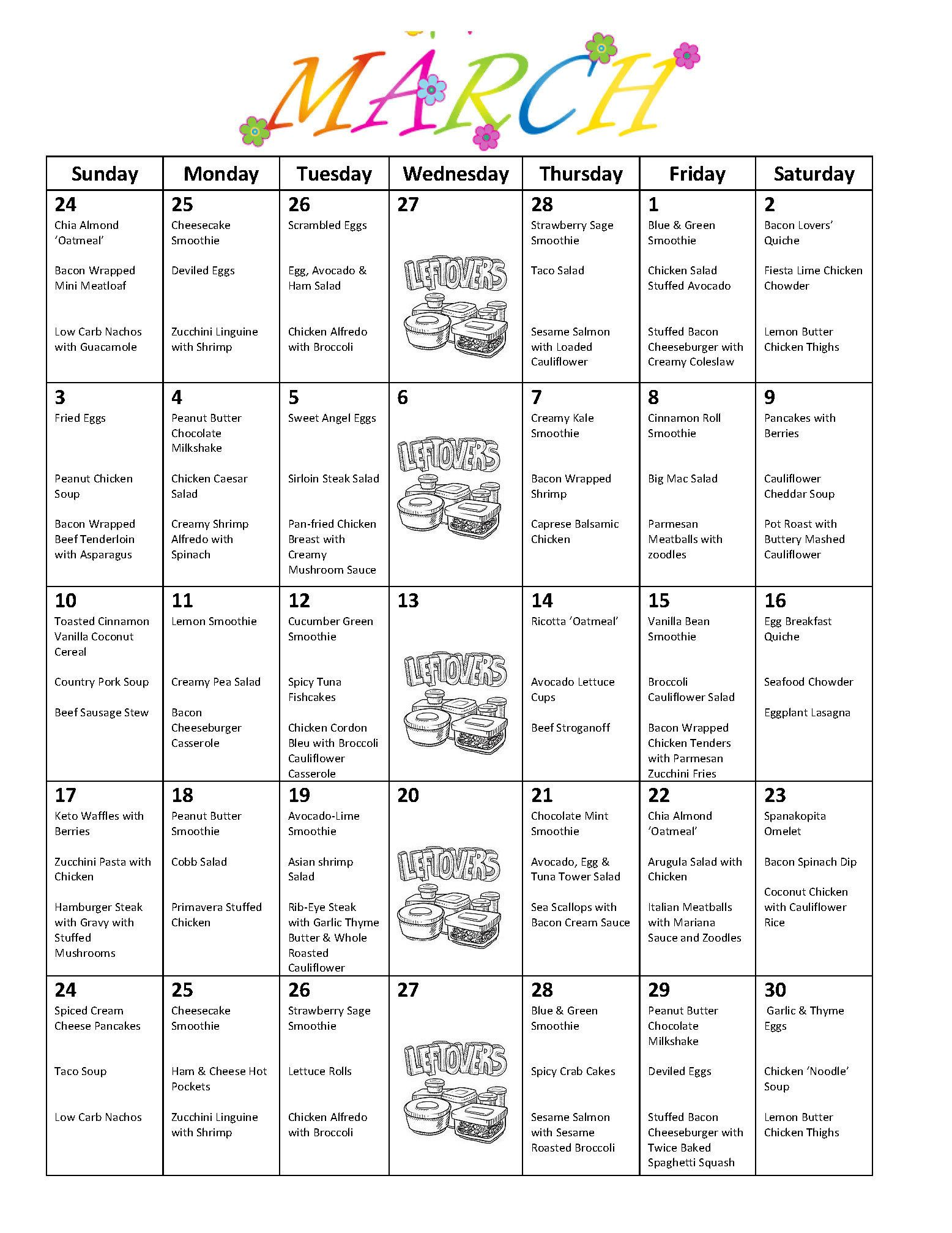 Low Carb April Monthly Meal Plan With Grocery List Etsy Meal Planning Monthly Meal Planning Pizza Nutrition Facts