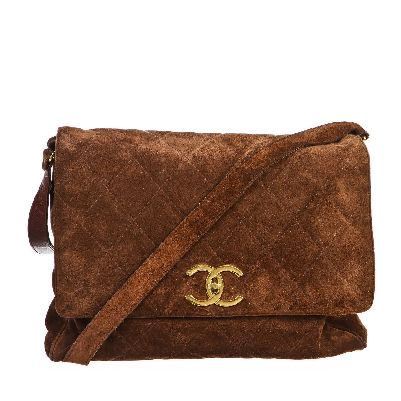 3e4f4e750a3738 Chanel Brown Quilted Suede Vintage Messenger Handbag | From a collection of  rare vintage crossbody bags