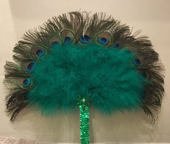 Peacock Marabou & Sequin Feather Fan  opera by Hippyfeather