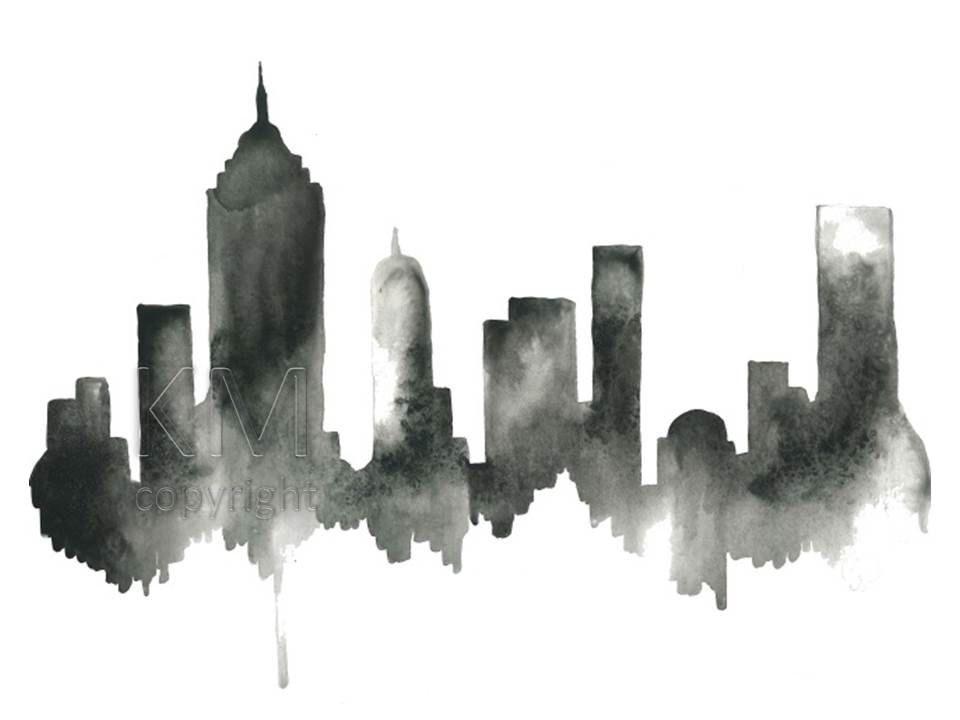 Watercolor Painting New York City Skyline Print Wall Art Etsy Modern Wall Artwork Skyline Painting Etsy Wall Art