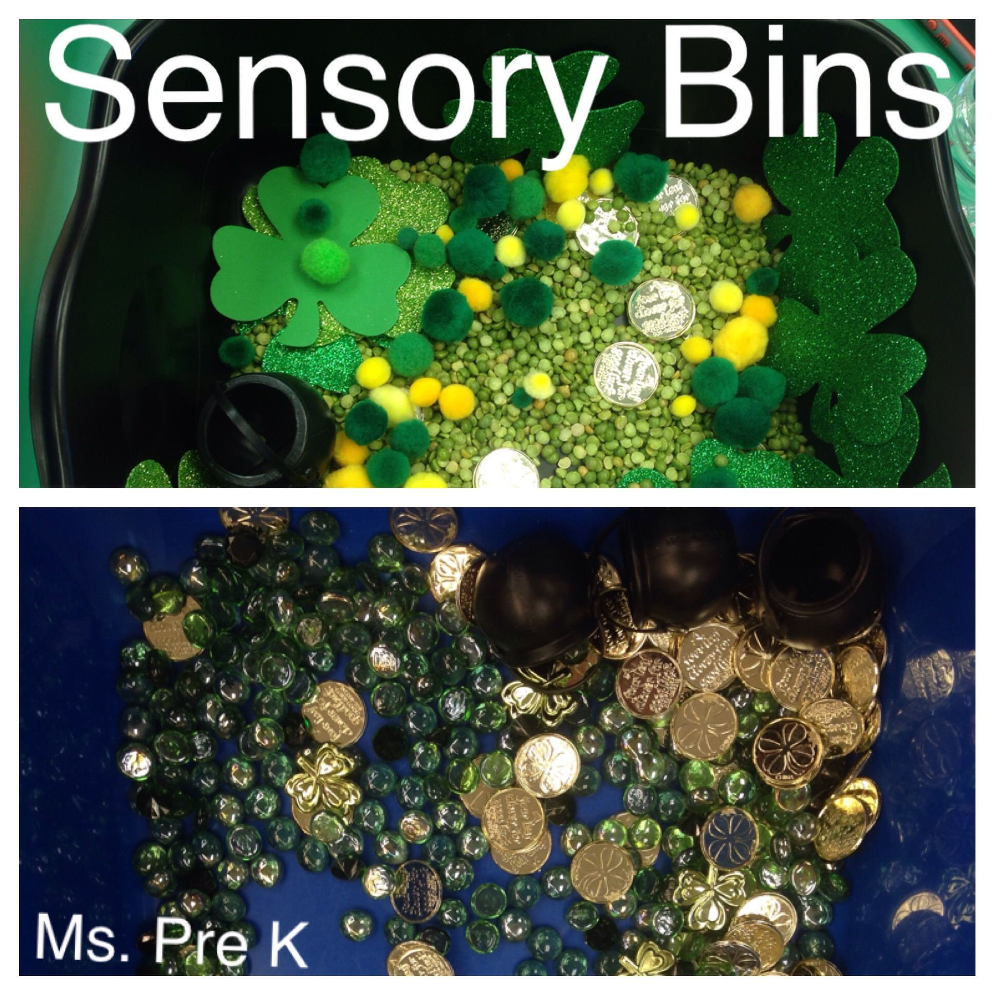 Fun sensory bin ideas great for the color green, gold, St. Patrick\'s ...