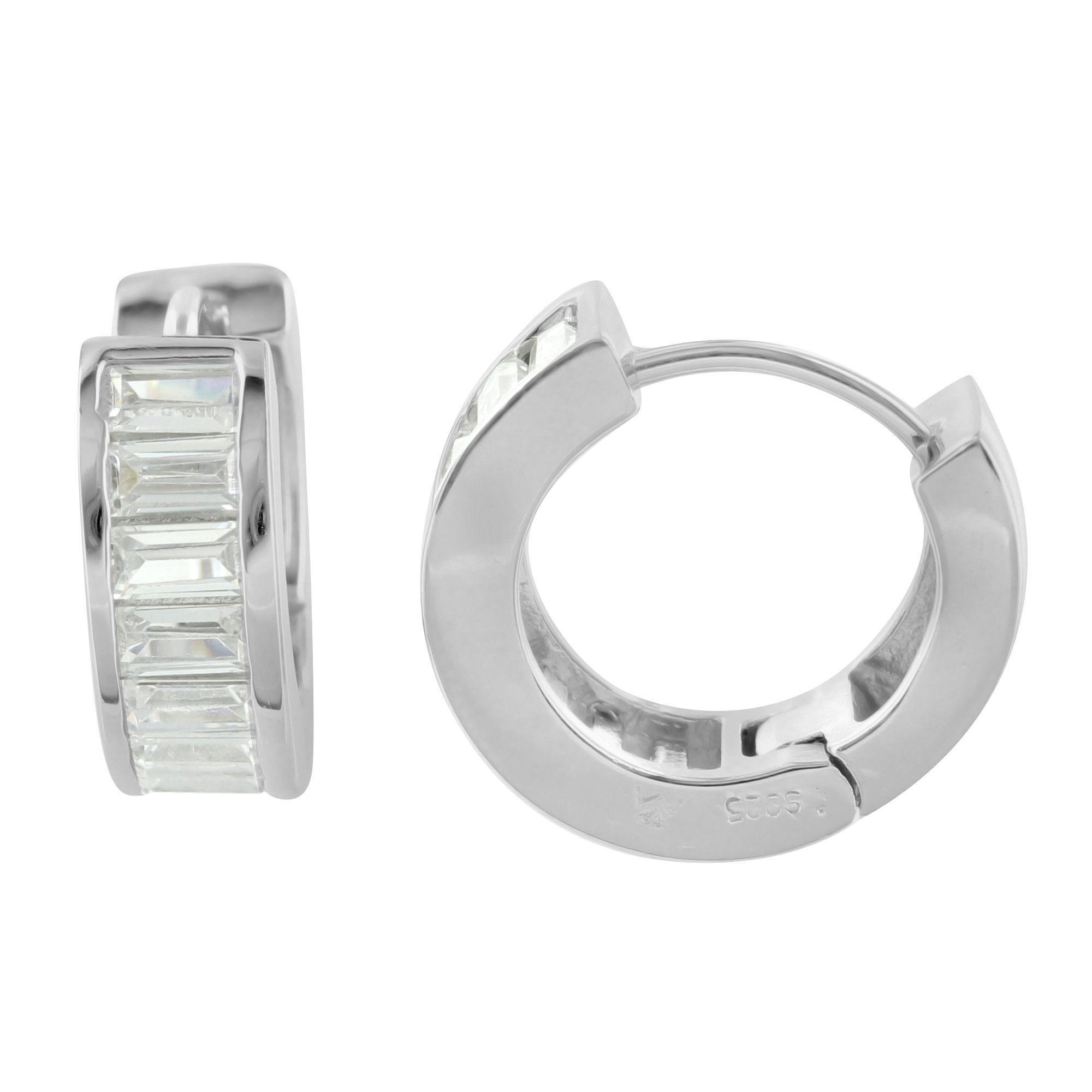 Baguette Cut Lab Diamond 925 Silver Hoop Earrings