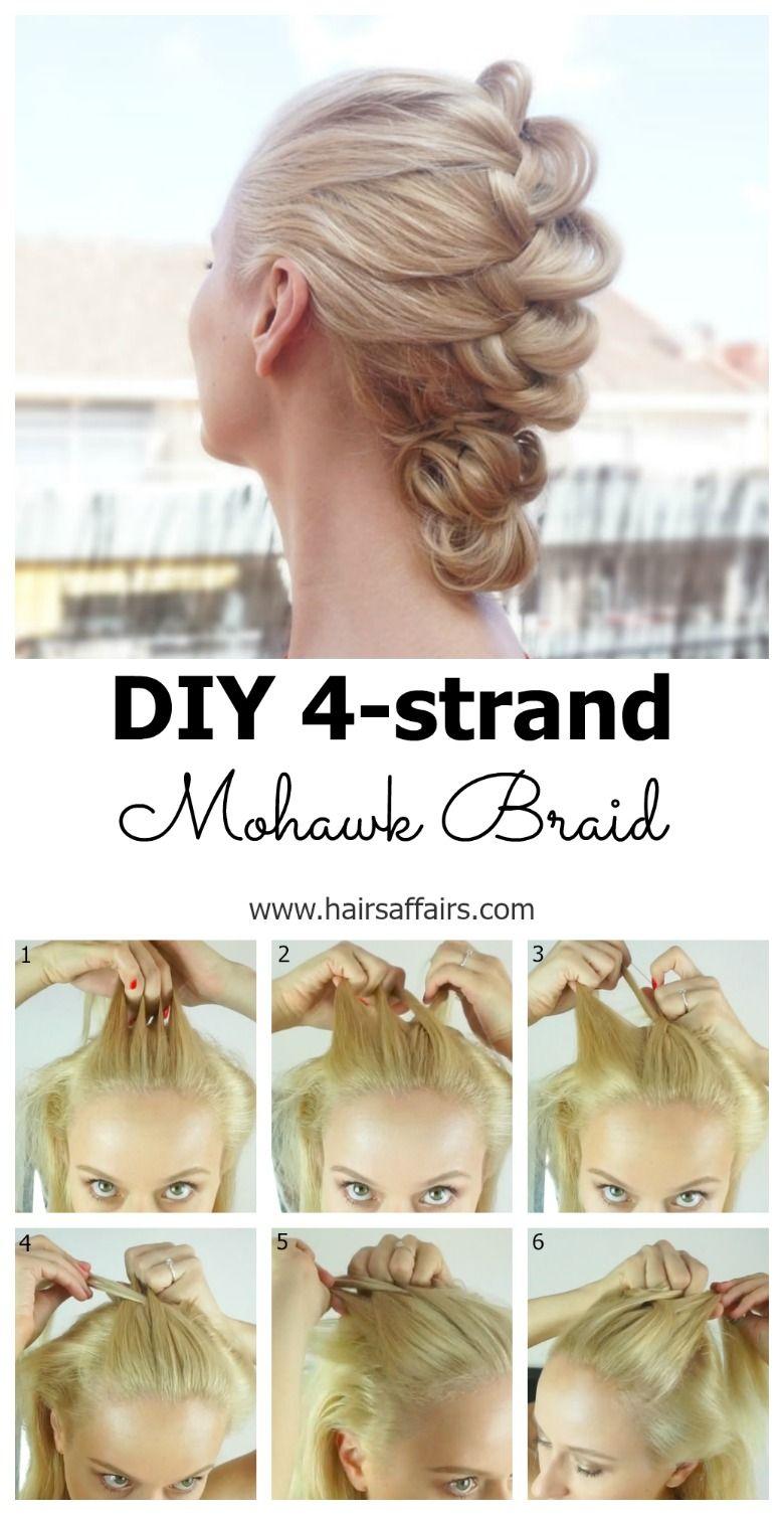 Diy four strand braid mohawk effect for my girls pinterest