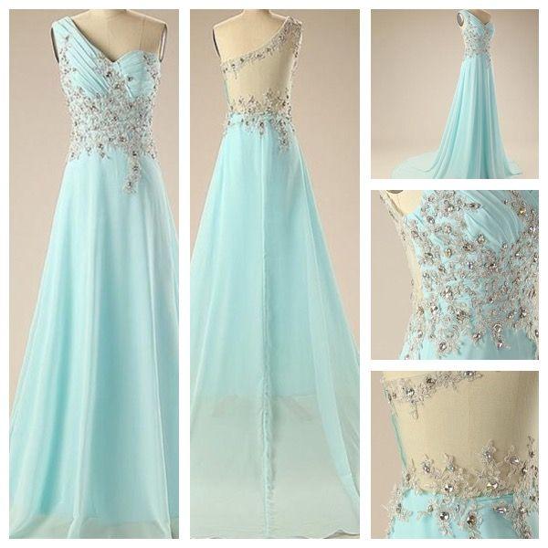 Aqua/blue Prom/ wedding/ bridesmaid/ formal/ themed design dress