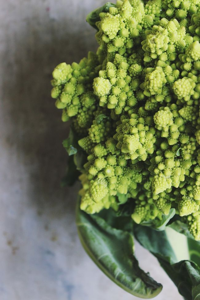 Roasted Romanesco Salad with Green Olive Dressing   @withfoodandlove