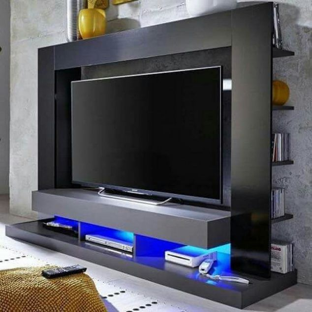 Stamford Entertainment Unit In Black Gloss Fronts With Shelving   High  Gloss TV Stands, Black, White, Furnitureinfashion UK